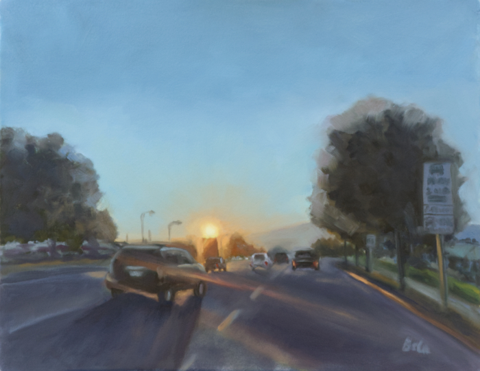 """Into the Sunset, oil painting on Arches oil paper mounted on board, 16""""x20"""""""