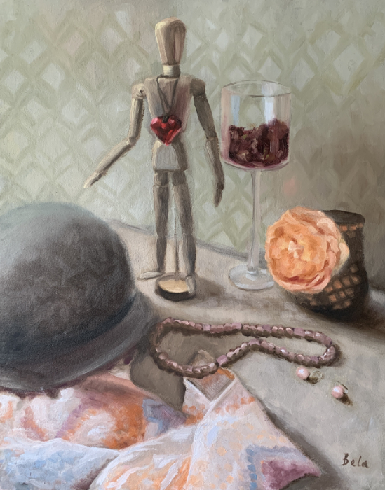 """Love Lee, oil painting on Arches oil paper mounted on board, 20""""x16"""""""