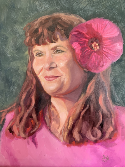 """Peggy with Hibiscus oil painting on birch panel 20""""x16"""""""
